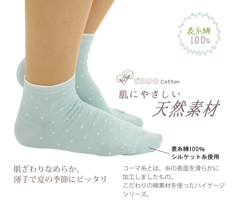 COPO Basic Cotton ハイゲージ水玉柄ショートクルーソックス レディース 23-24